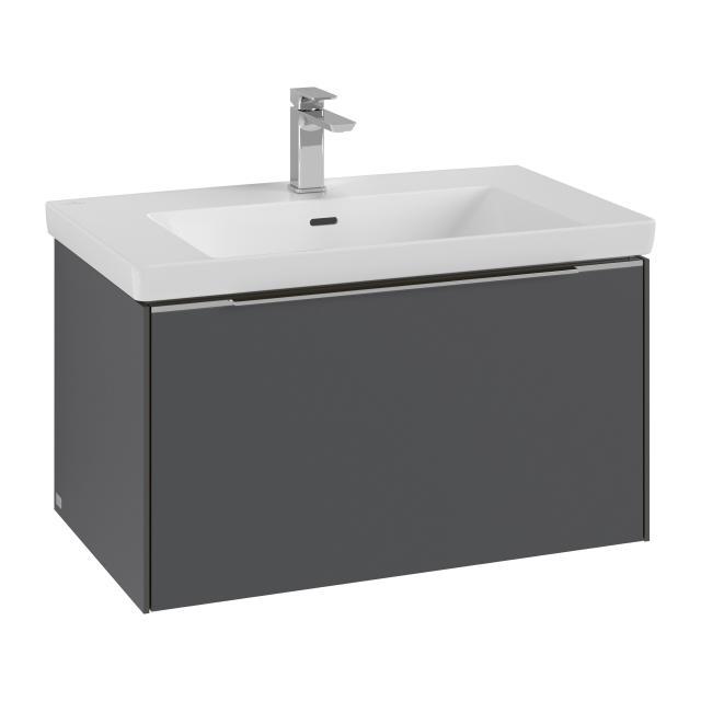 Villeroy & Boch Subway 3.0 Waschtisch mit Waschtischunterschrank mit 1 Auszug Front graphite / Korpus graphite, Griffleiste aluminium glanz, WT stone white, mit CeramicPlus, mit 1 Hahnloch, mit Überlauf