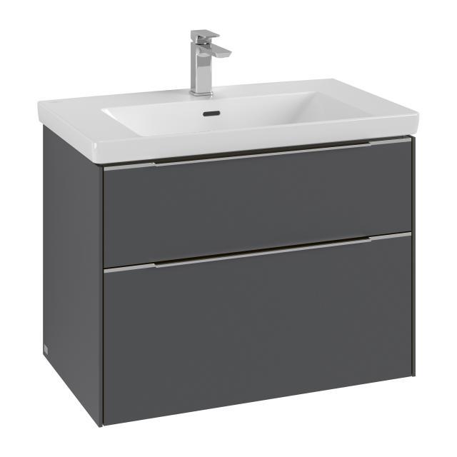 Villeroy & Boch Subway 3.0 Waschtisch mit Waschtischunterschrank mit 2 Auszügen Front graphite / Korpus graphite, Griffleiste aluminium glanz, WT weiß, mit CeramicPlus, mit 1 Hahnloch, mit Überlauf
