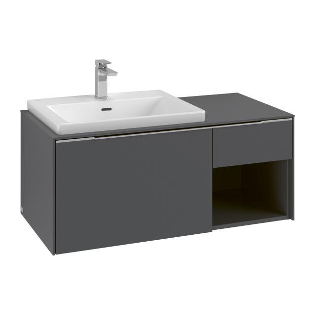 Villeroy & Boch Subway 3.0 Waschtischunterschrank mit 2 Auszügen und 1 Regalelement Front graphite / Korpus graphite, Griffleiste aluminium glanz