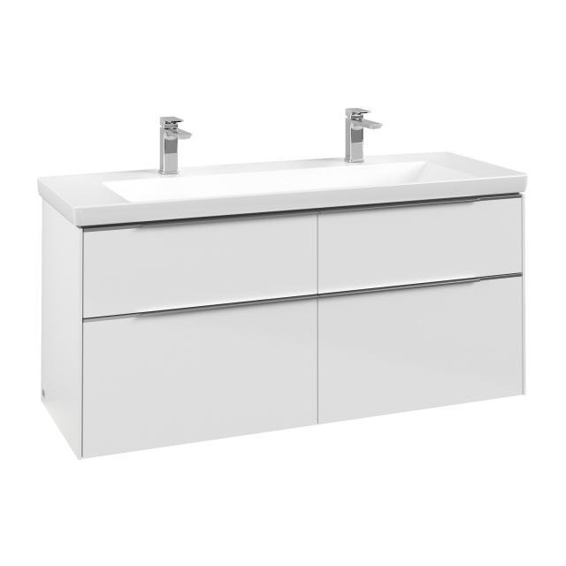 Villeroy & Boch Subway 3.0 Waschtischunterschrank mit 4 Auszügen Front brilliant white / Korpus brilliant white, Griffleiste aluminium glanz