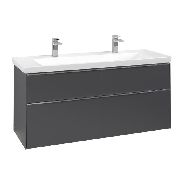 Villeroy & Boch Subway 3.0 Waschtischunterschrank mit 4 Auszügen Front graphite / Korpus graphite, Griffleiste aluminium glanz
