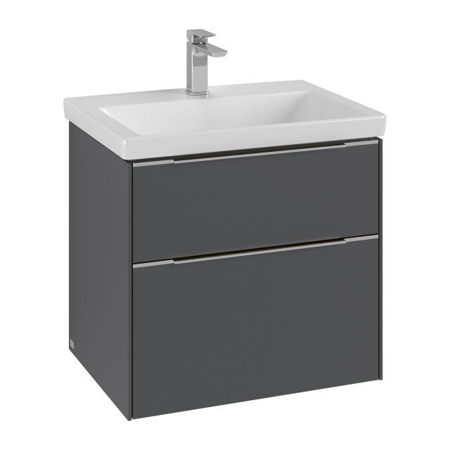 Villeroy & Boch Subway 3.0 Waschtischunterschrank mit 2 Auszügen Front graphite / Korpus graphite, Griffleiste aluminium glanz