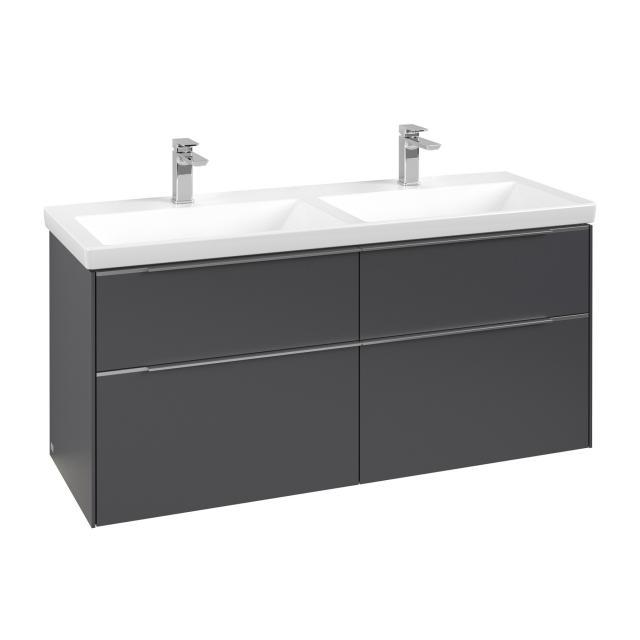 Villeroy & Boch Subway 3.0 Waschtischunterschrank für Doppelwaschtisch mit 4 Auszügen Front graphite / Korpus graphite, Griffleiste aluminium glanz