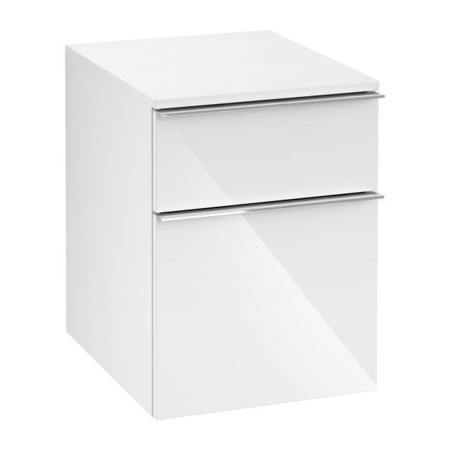 Villeroy & Boch Venticello Anbauschrank mit 2 Auszügen Front glossy white / Korpus glossy white, Griff chrom