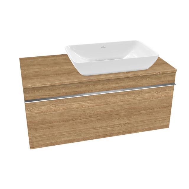 Villeroy & Boch Venticello Aufsatzwaschtisch mit Waschtischunterschrank mit 1 Auszug Front kansas oak / Korpus kansas oak, Griff chrom, WT weiß