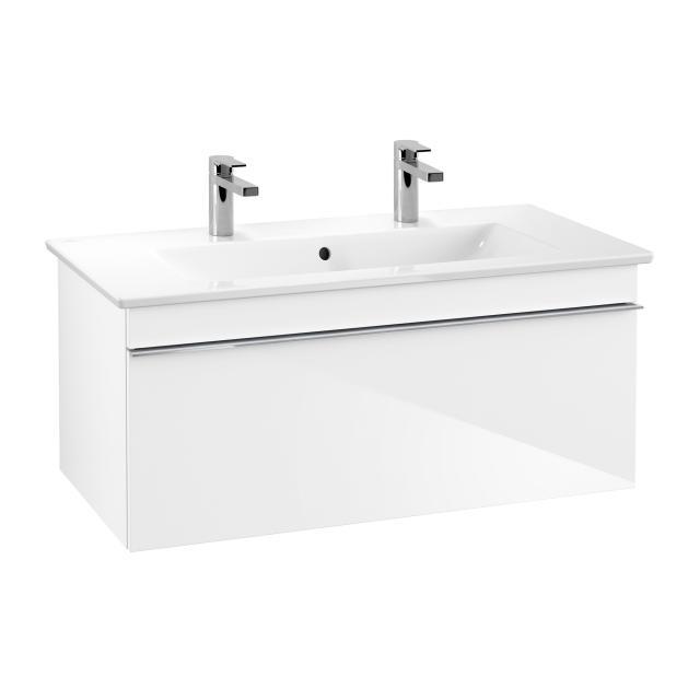 Villeroy & Boch Venticello Doppelwaschtisch mit Waschtischunterschrank mit 1 Auszug Front glossy white / Korpus glossy white, Griff chrom, WT weiß