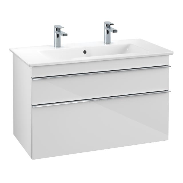 Villeroy & Boch Venticello Doppelwaschtisch mit Waschtischunterschrank mit 2 Auszügen Front glossy white / Korpus glossy white, Griff chrom, WT weiß mit CeramicPlus