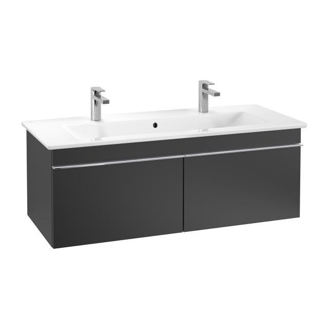 Villeroy & Boch Venticello Doppelwaschtisch mit Waschtischunterschrank mit 2 Auszügen Front black matt / Korpus black matt, Griff chrom, WT weiß mit CeramicPlus