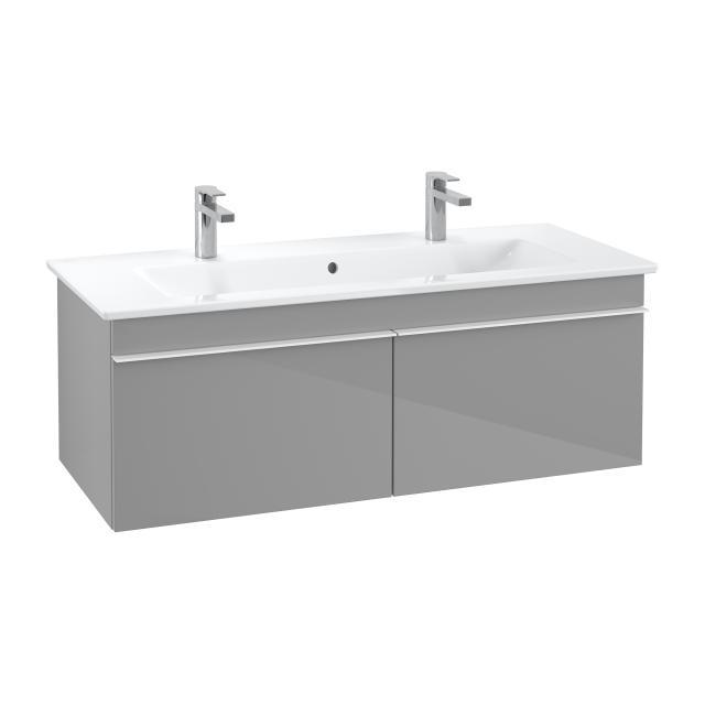 Villeroy & Boch Venticello Doppelwaschtisch mit Waschtischunterschrank mit 2 Auszügen Front glossy grey / Korpus glossy grey, Griff weiß, WT weiß