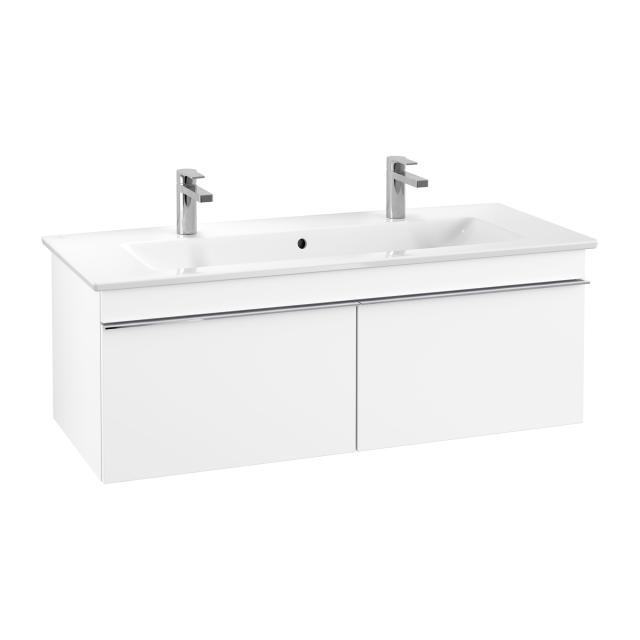 Villeroy & Boch Venticello Doppelwaschtisch mit Waschtischunterschrank mit 2 Auszügen Front weiß matt / Korpus weiß matt, Griff chrom, WT weiß mit CeramicPlus