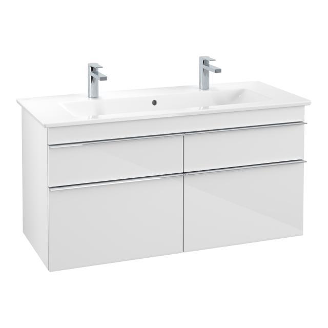 Villeroy & Boch Venticello Doppelwaschtisch mit Waschtischunterschrank mit 4 Auszügen Front glossy white / Korpus glossy white, Griff chrom, WT weiß mit CeramicPlus