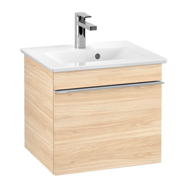 Villeroy & Boch Venticello Handwaschbecken mit Waschtischunterschrank mit 1 Auszug Front ulme impresso / Korpus ulme impresso, Griff chrom, WT weiß