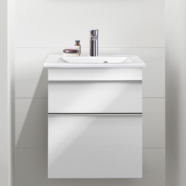 Villeroy & Boch Venticello Handwaschbecken mit Waschtischunterschrank mit 2 Auszügen Front glossy white / Korpus glossy white, Griff chrom, WT weiß mit CeramicPlus