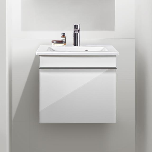 Villeroy & Boch Venticello Handwaschbeckenunterschrank mit 1 Auszug Front glossy white / Korpus glossy white, Griff chrom