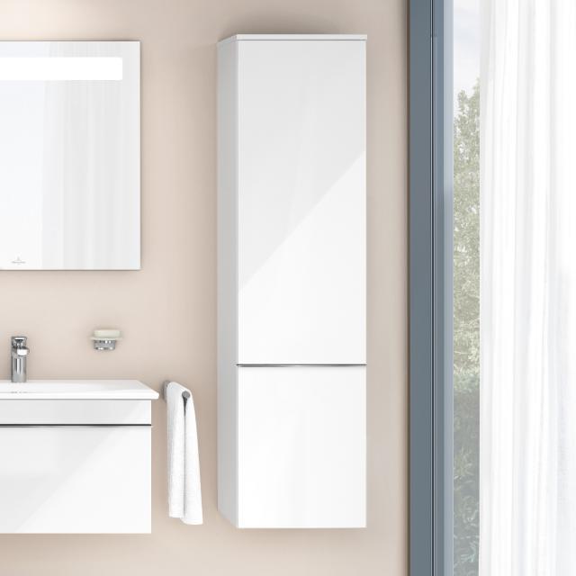 Villeroy & Boch Venticello Hochschrank mit 1 Tür Front glossy white / Korpus glossy white, Griff chrom