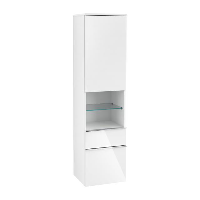 Villeroy & Boch Venticello Hochschrank mit offenem Fach mittig, 2 Auszüge und 1 Tür Front glossy white / Korpus glossy white, Griff chrom