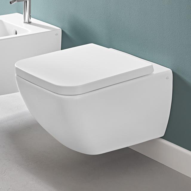 Villeroy & Boch Venticello Wand-Tiefspül-WC, offener Spülrand stone white, mit CeramicPlus