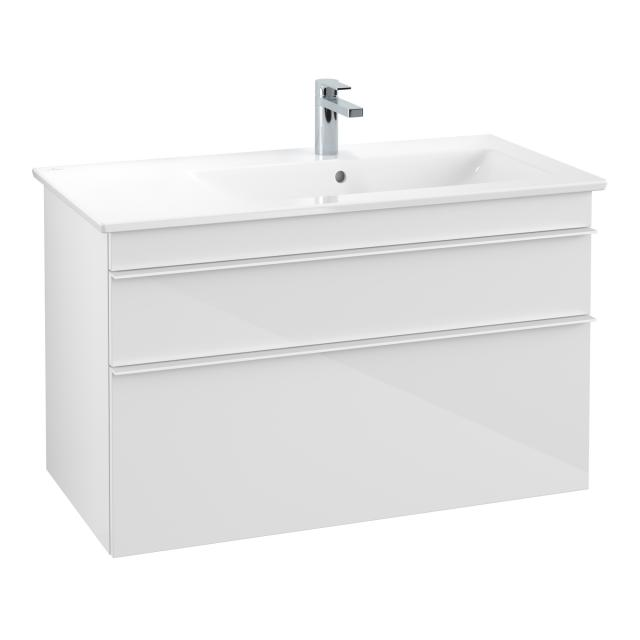 Villeroy & Boch Venticello Waschtisch mit Waschtischunterschrank mit 2 Auszügen Front glossy white / Korpus glossy white, Griff weiß, WT weiß, mit 1 Hahnloch