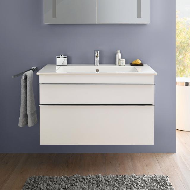 Villeroy & Boch Venticello Waschtisch mit Waschtischunterschrank mit 2 Auszügen Front glossy white / Korpus glossy white, Griff chrom, WT weiß mit CeramicPlus, mit 1 Hahnloch