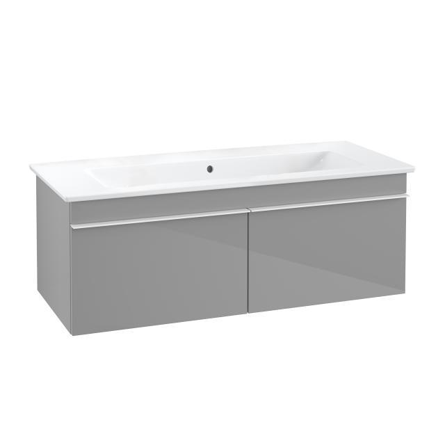 Villeroy & Boch Venticello Waschtisch mit Waschtischunterschrank mit 2 Auszügen Front glossy grey / Korpus glossy grey, Griff weiß, WT weiß, ohne Hahnloch