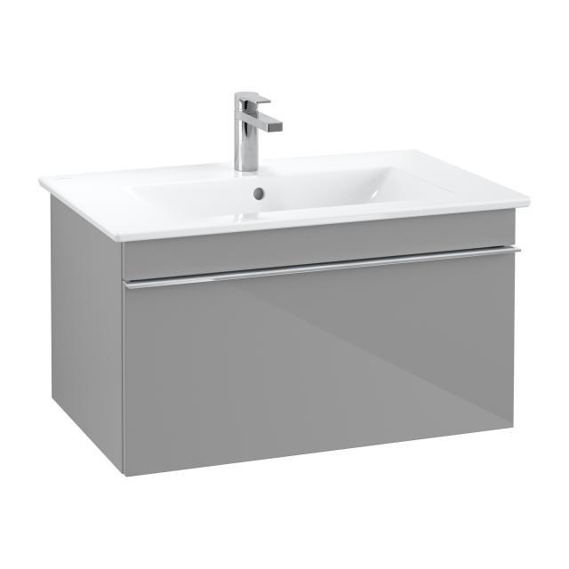 Villeroy & Boch Venticello Waschtisch mit Waschtischunterschrank mit 1 Auszug Front glossy grey / Korpus glossy grey, Griff chrom, WT weiß, mit 1 Hahnloch