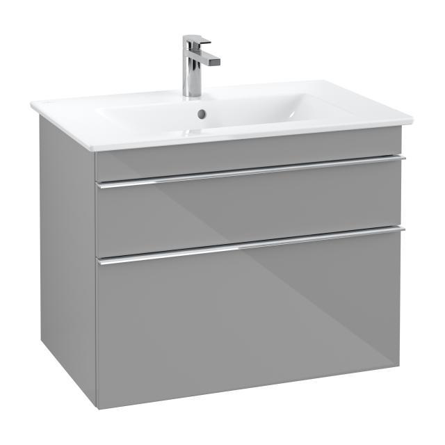 Villeroy & Boch Venticello Waschtisch mit Waschtischunterschrank mit 2 Auszügen Front glossy grey / Korpus glossy grey, Griff chrom, WT weiß mit CeramicPlus, mit 1 Hahnloch