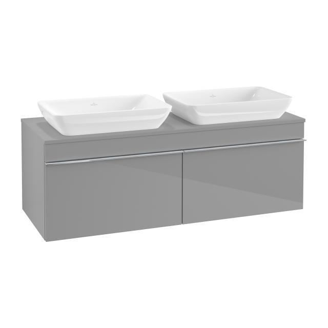 Villeroy & Boch Venticello Waschtischunterschrank für 2 Aufsatzwaschtische mit 2 Auszügen Front glossy grey / Korpus glossy grey, Griff chrom