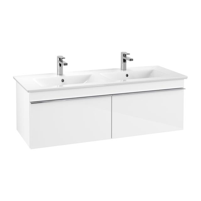 Villeroy & Boch Venticello Waschtischunterschrank für Doppelwaschtisch mit 2 Auszügen Front glossy white / Korpus glossy white, Griff chrom