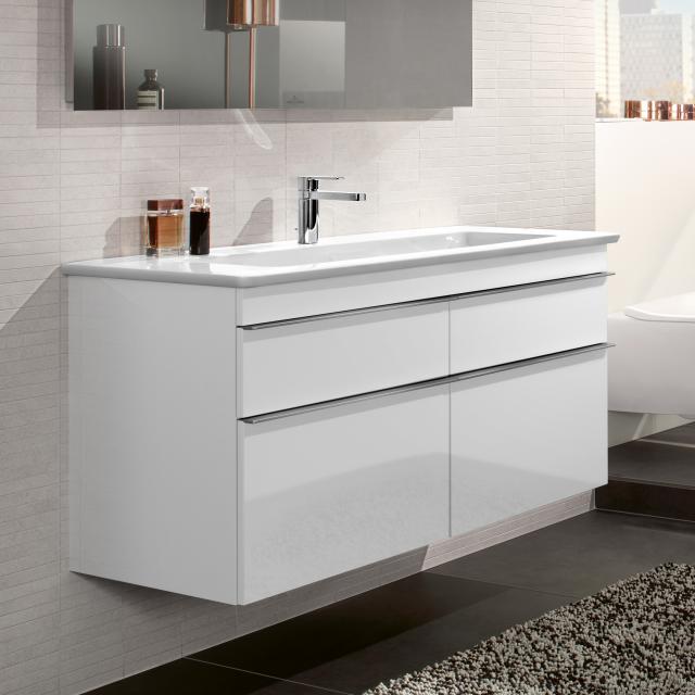 Villeroy & Boch Venticello Waschtischunterschrank XXL mit 4 Auszügen Front glossy white / Korpus glossy white, Griff chrom