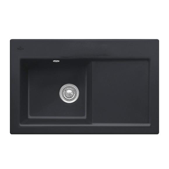 villeroy boch subway 45 sp le mit handbet tigung b 78 t 51 cm becken links ebony position. Black Bedroom Furniture Sets. Home Design Ideas