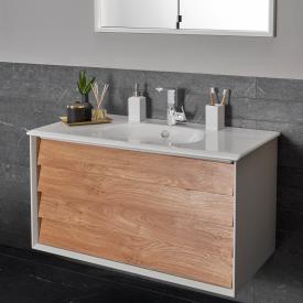 VitrA Frame Waschtisch mit Waschtischunterschrank mit 2 Auszügen Front eiche gold / Korpus weiß matt