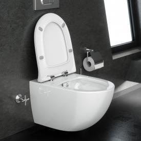 VitrA Sento Wand-Tiefspül-WC mit Bidetfunktion ohne Spülrand, weiß, mit VitrAclean