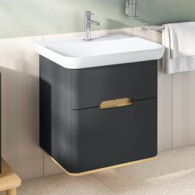 VitrA Sento Waschtisch mit Waschtischunterschrank mit 2 Auszügen Front anthrazit matt / Korpus anthrazit matt/eiche