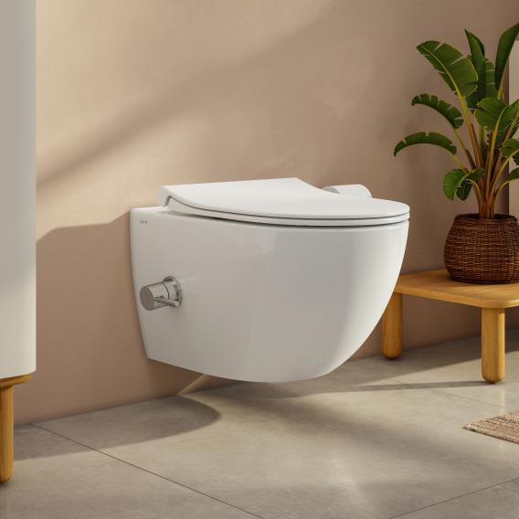 VitrA Aquacare Sento Wand-Tiefspül-WC-Set mit Bidetfunktion, mit WC-Sitz mit integrierter Thermostat-Armatur
