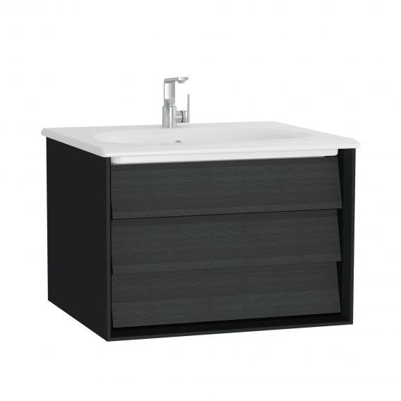 VitrA Frame Waschtisch mit Waschtischunterschrank mit 1 Auszug Front eiche schwarz / Korpus schwarz matt