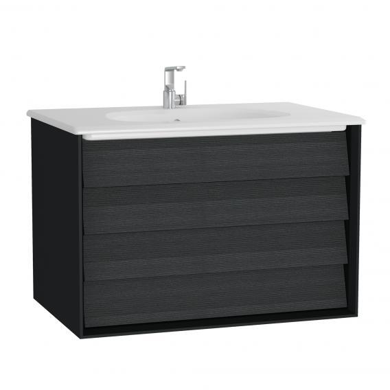 VitrA Frame Waschtisch mit Waschtischunterschrank mit 2 Auszügen Front eiche schwarz / Korpus schwarz matt