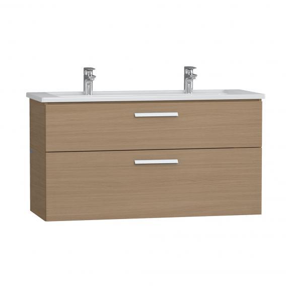 VitrA Integra Doppelwaschtisch mit Waschtischunterschrank mit 2 Auszügen Front eiche / Korpus eiche