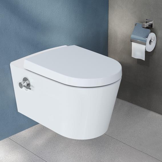 VitrA Options Nest Wand-Tiefspül-WC mit Bidetfunktion ohne Spülrand, weiß, mit integrierter Thermostat-Armatur