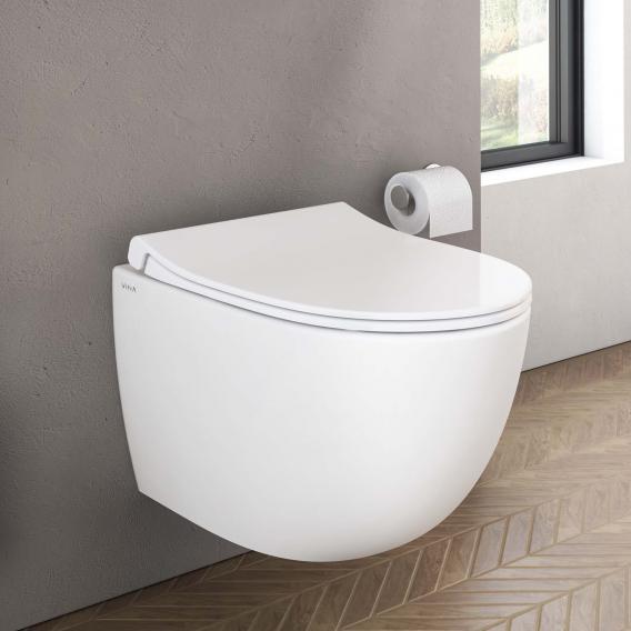 VitrA Sento Wand-Tiefspül-WC Compact ohne Spülrand, weiß, mit VitrAclean
