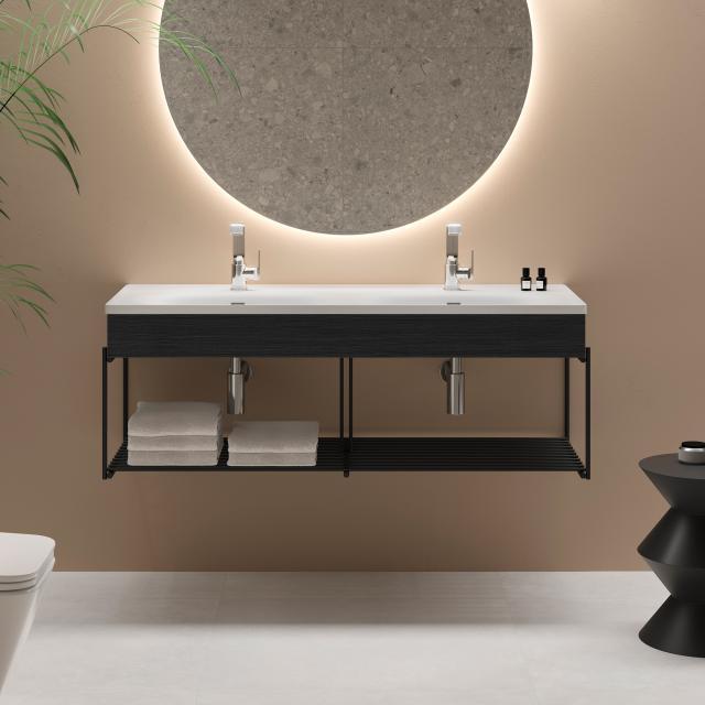 VitrA Equal Doppelwaschtisch mit Blende und Metallkonsole, 2 Ablagen Front eiche schwarz/schwarz matt / Korpus eiche schwarz/schwarz matt, WT weiß