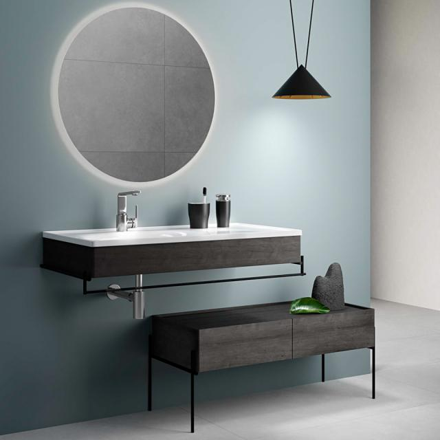 VitrA Equal Möbelwaschtisch mit Ablage weiß, mit Handtuchhalter, mit Blende eiche schwarz