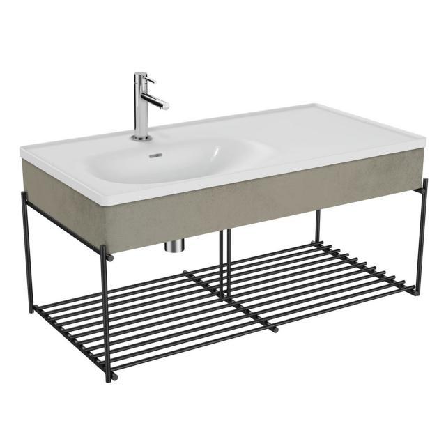 VitrA Equal Waschtisch mit Blende und Metallkonsole, 2 Ablagen Front beton/schwarz matt / Korpus beton/schwarz matt, WT weiß