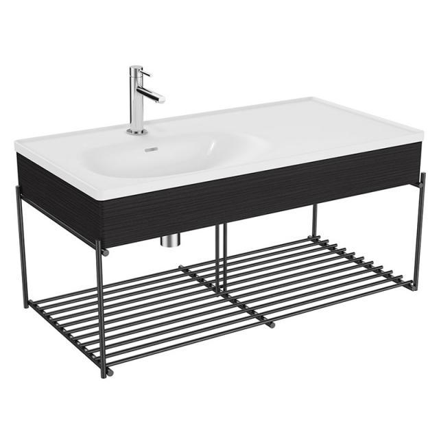 VitrA Equal Waschtisch mit Blende und Metallkonsole, 2 Ablagen Front eiche schwarz/schwarz matt / Korpus eiche schwarz/schwarz matt, WT weiß