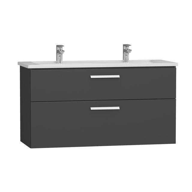 VitrA Integra Doppelwaschtisch mit Waschtischunterschrank mit 2 Auszügen Front anthrazit hochglanz / Korpus anthrazit hochglanz