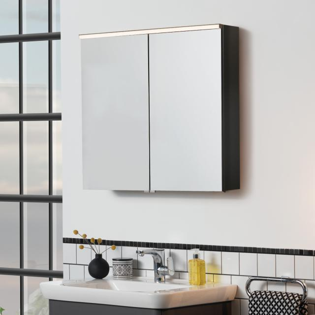 VitrA Integra/Sento Premium Spiegelschrank mit LED-Beleuchtung anthrazit matt