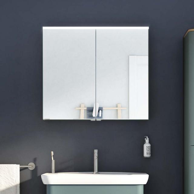VitrA Integra/Sento Premium Spiegelschrank mit LED-Beleuchtung fjordgrün matt