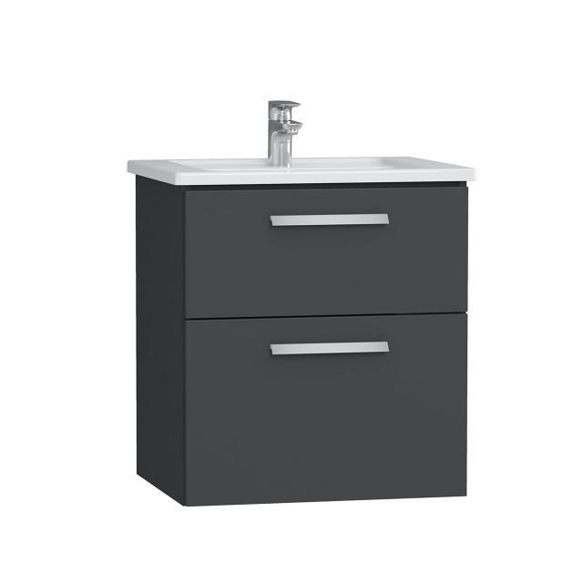 VitrA Integra Waschtisch mit Waschtischunterschrank mit 2 Auszügen Front anthrazit hochglanz / Korpus anthrazit hochglanz