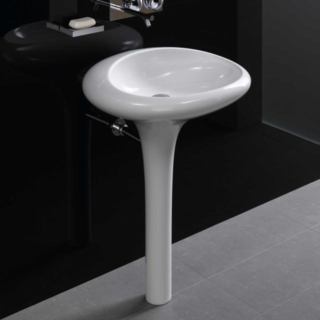 VitrA Istanbul Waschtisch mit integrierter Standsäule weiß, mit VitrAclean, ohne Hahnloch