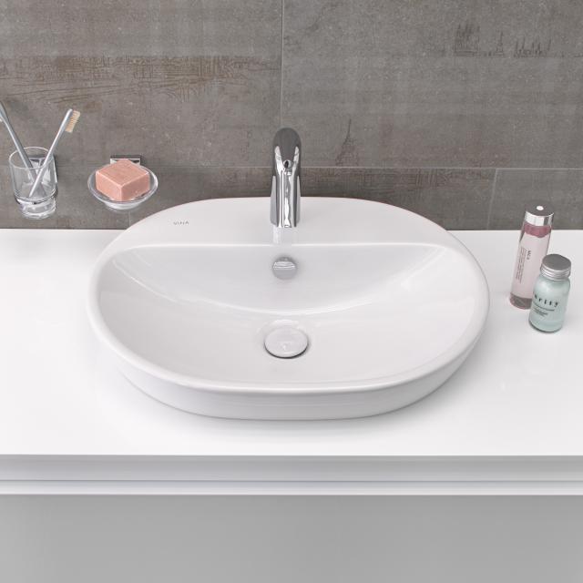 VitrA Metropole Aufsatzwaschtisch, oval weiß, mit VitrAclean, ungeschliffen, mit Überlauf