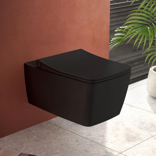 VitrA Metropole Wand-Tiefspül-WC ohne Spülrand, schwarz matt